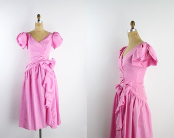 80s Pink Bow Cascade Dress / Tulip Puff Sleeve / Pink Party dress / Midi Dress / Prom Dress / Cocktail Dress / 90s/ Size S/M