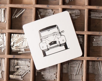 Pack 25 Letterpress Classic Cars Coasters Citroën 2CV