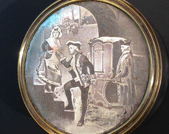 19th Century Hand Engraved Sterling Silver round box