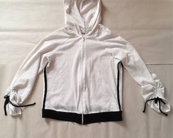MESH NET hooded sport jacket | black and white zipper jacket | gathered shoulder sport jacket