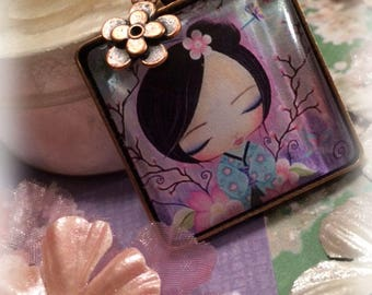 Kokeshi Necklace, Girls Jewelry, Japanese, Kawaii, Pendant Necklace, Gift for Girls, Whimsical Jewelry, Cherry Blossoms, Wearable Art, Cute