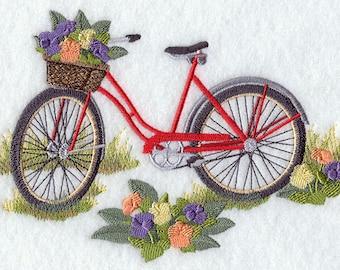 SCHWINN CRUISER with Flower Basket- Machine Embroidered Quilt Blocks (AzEB)
