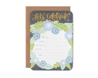Let's Celebrate Blank Invitations - Set of 10 Party Invitations