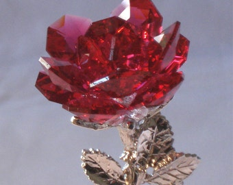 Red Rose - Crystal Red Rose handcrafted By Bjcrystalgifts Using Swarovski Crystals