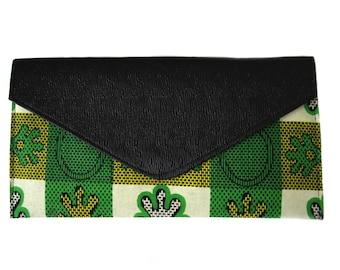 Green African Print Ankara Envelope Clutch Bag