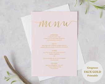 Blush Pink and Gold Menu - Printable DIY Template - Instant Download - Editable PDF - Wedding Menu - Blush pink - 5x7 inches - #GD1202