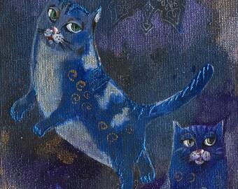 cat, cats, illustration, kitty, kitties, Original acrylic painting on board
