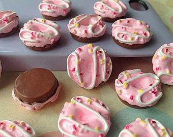 13mm.Miniature Doughnuts Cabochon,Miniature Sweet,Cabochon,Miniature Doughnuts,Mobile Accessories,Cabochon Sweet,Doughnuts Strawberry