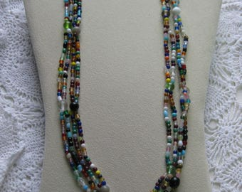 "X- Two ""double strung"" Glass Mardi Gras bead necklaces from New Orleans-Carnival --Parade"