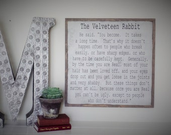 The Velveteen Rabbit Wood Sign Hand Painted Wooden Sign Velveteen Rabbit Quote Wall Art Christmas gift