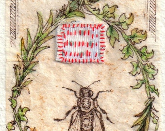 "Bee art, print from original ink Drawing on teabag, ink drawing, Kabbalah, ""Tell the Bees,"" bee keeping charm, art, mixed media, embroidery"