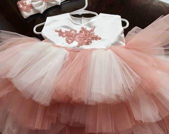 Girls rose pink dress, birthday dress, easter dress, flower girl dress, pink dress, party dress, pageant dress, wedding dress