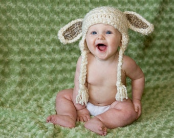 Lamb Baby Hat, Lamb Costume, Lamb Hat, Toboggan, Beanie, gifts, Lamb Baby, Crochet, Kids, Lamb Child, Lamb Newborn, Toddler, Easter