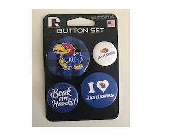 Kansas Jayhawks NCAA Button Set