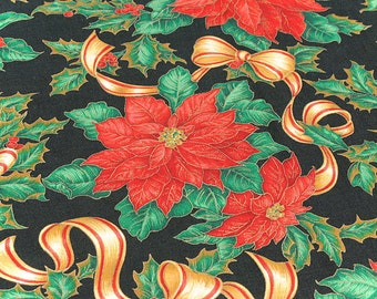 Christmas Fabric Red Poinsettia on Black Background VIP Print Cranston Print Works Co.100% Cotton 59 in. wide 1 Yard.