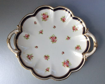 c1910 George Jones Crescent China Pink Roses Cake Plate