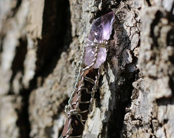 Magic Wand - Walnut and Amethyst, Wiccan Wand, Pagan Wand, Wizard Wand, Magical Girl Wand, Wood Wand, Witch Wand,  Magick Wand, Wand
