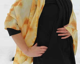 Hand Painted Silk Scarf Square Scarves Women Valentines Silk Painting Batik Unique Neck scarf Gift for her Gift for womans  Amber scarf