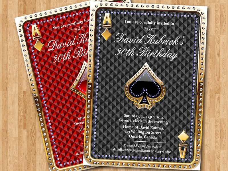 80th Birthday Invitation Casino theme Poker birthday