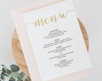 Gold Slant Menu Printable - Wedding Menu Card - Gold Faux Foil Calligraphy Style - Instant Download - DIY Template - 5x7 inches - #GD0803