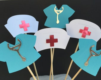 Nurses hat, nurses scrubs cupcake toppers for cupcakes, cakes decorations,  nursing students parties, grad parties, hospital parties decor