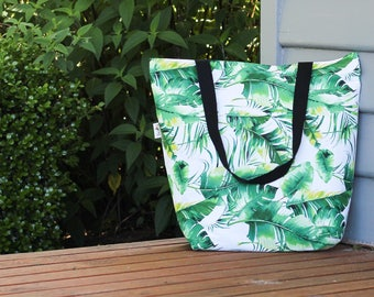 Green Palm Tree Leaves Canvas Tote Bag