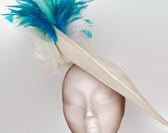 White and turquoise hat, White kentucky derby hats,White races hat,Turquoise wedding hat,White ascot hat, Teal fascinator,Blue and white hat