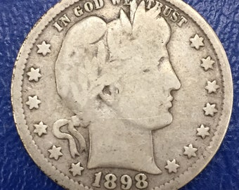 1898 Barber Quarter, Liberty Head Quarter    <>  M375