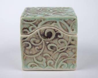 Small ceramic box, Chameleon Gray-Green, slab built, porcelain, handmade pottery, swirley pattern