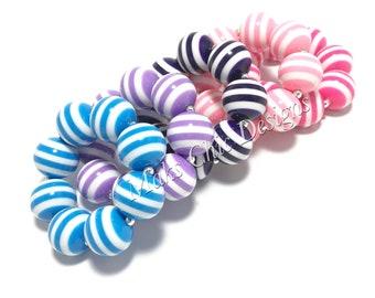 Toddler or Girls Striped Chunky bracelets - Dress up Bracelet - Blue, Purple, Pink Bubblegum Bracelets - Toddler Bracelet - Pink and White