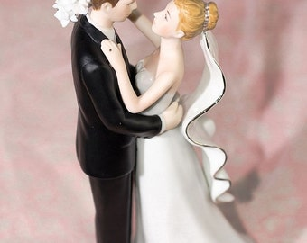 White and Silver Porcelain  Cake Topper Figurine - Custom Painted Hair Color Available - 707563