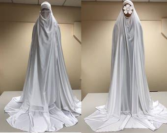 Weiße lange Burka, muslimischen Niqab, Hochzeit Hijab, Hajjie Kleidung, lange jilbab
