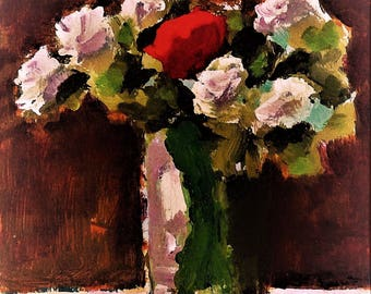 """White & Red Flowers, Original Still Life Painting on Panel, 5"""" x 7"""", Free Shipping within USA"""