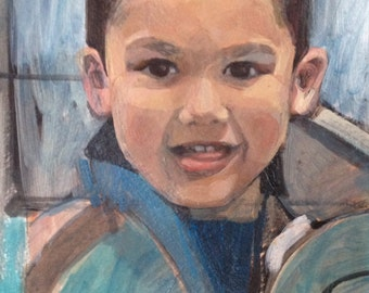 mini* Custom Kid Portraits! Individual gallery style 5 x 7 acrylic paintings made by commission
