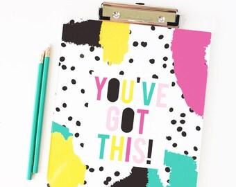 Acrylic Clipboard Girls Office Supplies Inspirational Quote Desk Accessories Graduation Gifts Polka Dot School Supplies Teacher Clipboard