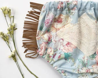 Layla Baby Bloomers || boho baby bloomers || Floral bloomers || baby clothing || fringe bloomers