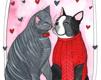 Art Print - Boston Terrier and Cat Print - Cat and Dog Print - Cat And Dog Print - Boston Terrier Art - 5x7 Art Print - Clancy and Chloe