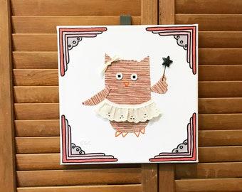 Fairy Owl #8 Fabric Wall Art