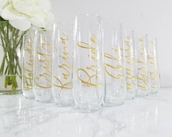 Bridesmaid Champagne Glasses / Bridesmaid Proposal Box / Bridesmaids Gift / Gift / Personalized Stemless Champagne Flutes / Juliette Flute