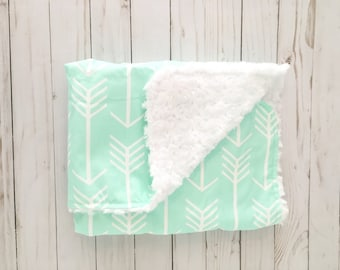Baby Blanket Mint Arrow. Gender Neutral Baby. Faux Fur Baby. Baby Shower Gift. BizyBelle