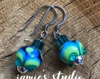 Handmade Lampwork Glass Bead Earrings Jamie's Studio - JSLB