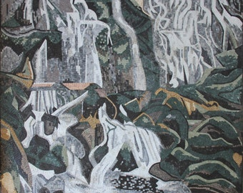 Waterfall Landscape Rug Carpet Rocks Interior Art Marble Mosaic CR211