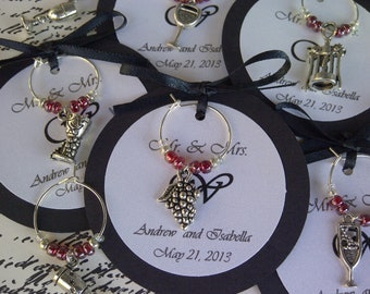 50-95 Custom Wine Themed Wine Charm Favors - Weddings, Bridal Shower, Rehearsal Dinner, Anniversary, Birthday Party or Special Event