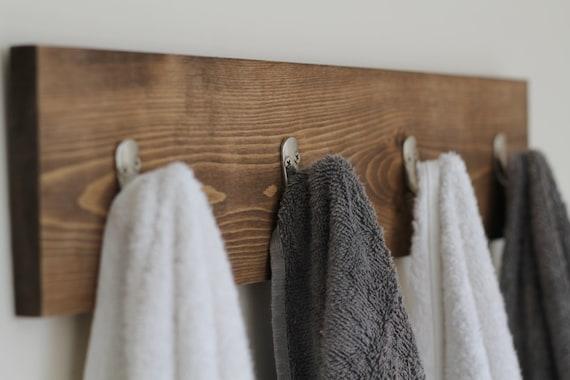 Rustic Wooden Towel Rack, Towel Rack, Towel Hooks, Rustic Bathroom Decor, Bathroom Rack, Bathroom Decor, Wooden Towel Rack, Gifts for Him