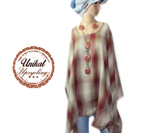 Upcycling layered look A-line long tunic dress warm cuddly new gr. 54 56 XXL