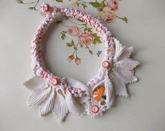 White - orange mixed bold crochet colorful necklace... boho chic,rustic,vintage fabric statement chunky necklace