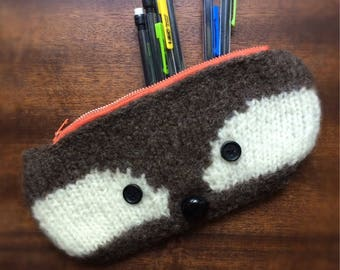 Child's Raccoon Pencil Case hand-knitted wool photo prop felted wool