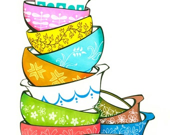 Vintage Pyrex Inspired Illustration - Archival Print From Original Drawing