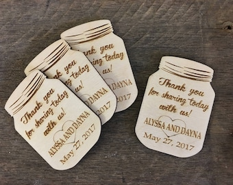 Thank You Favors, Weddings, Bridal Showers, Wedding Shower, Baby Shower, Birthday, Retirement, Rustic, Mason Jar, Thank You Card, Magnet