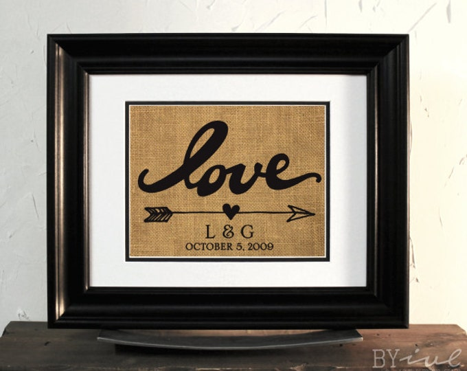 LOVE Burlap Initials and Date Sign. Lovely Gift for Wedding or Anniversary. Marriage Date. Unframed.